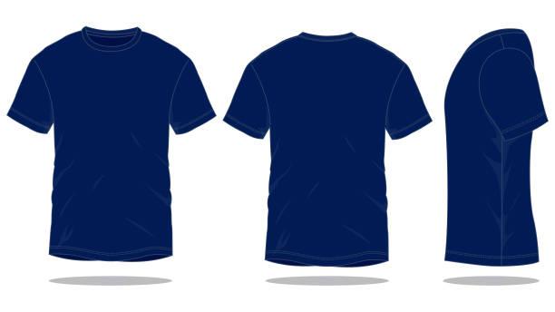 stockillustraties, clipart, cartoons en iconen met navy blue t-shirt vector voor template - t shirt