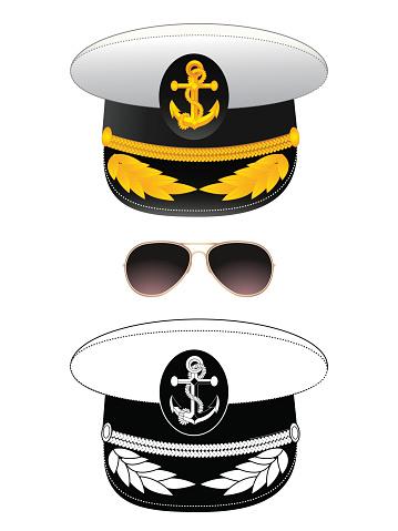 Navy captain hat, vector