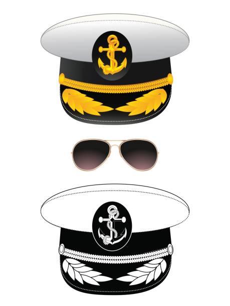 marine kapitän hut, vektor - matrosenmütze stock-grafiken, -clipart, -cartoons und -symbole
