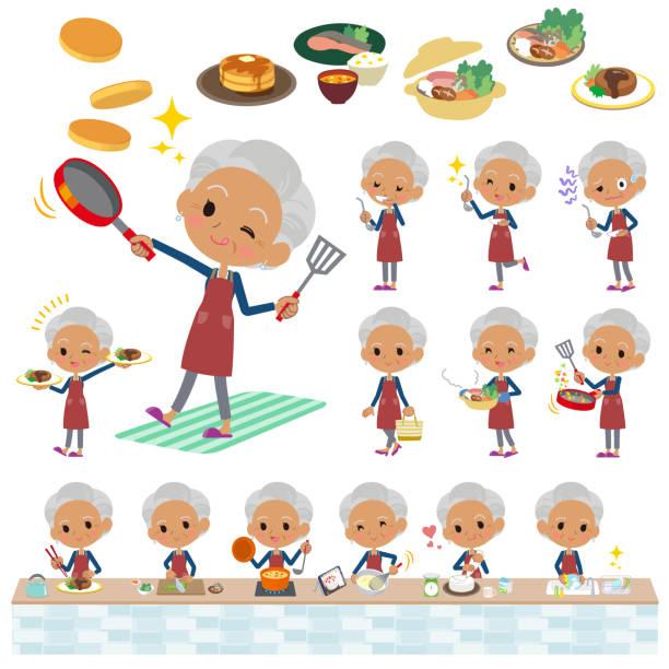 ilustrações de stock, clip art, desenhos animados e ícones de navy cardigan old women black_cooking - fail cooking