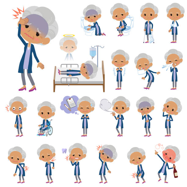 navy cardigan old women black_sickness - old man mask stock illustrations, clip art, cartoons, & icons
