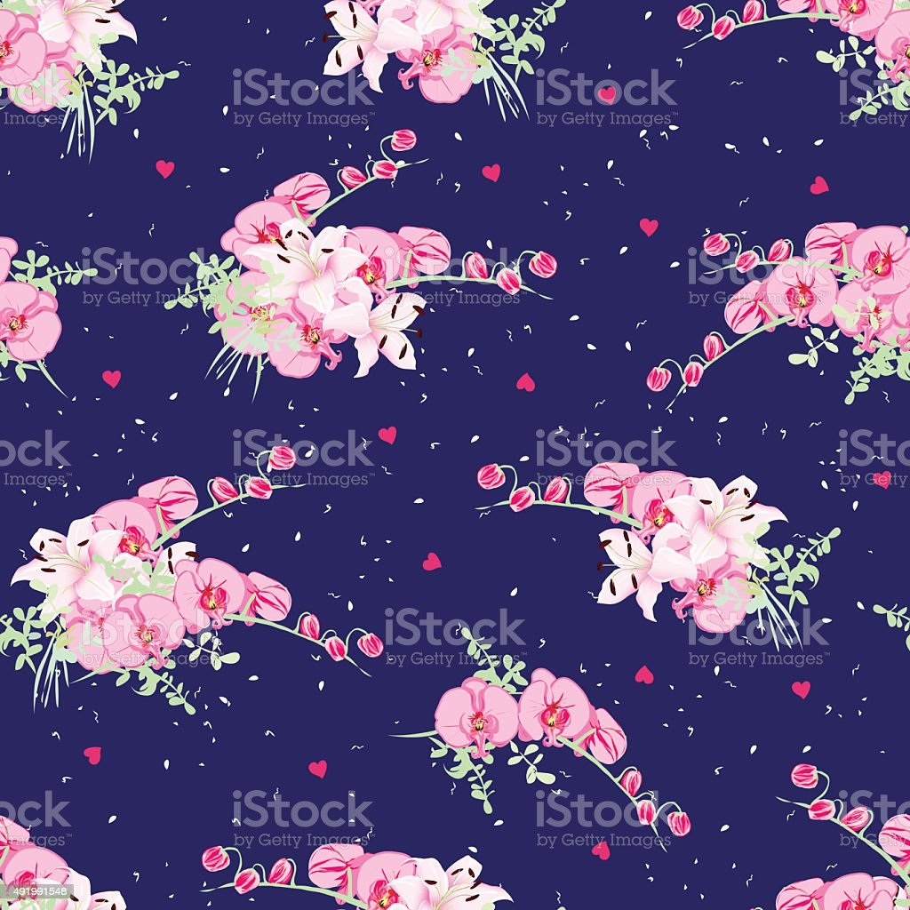 Navy dotted pattern with orchid and lily bouquets vector art illustration