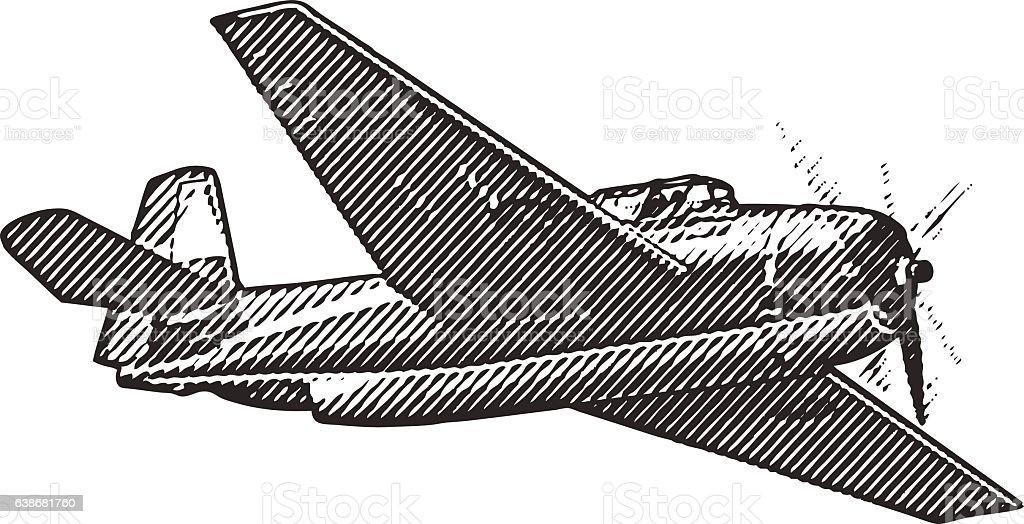 US Navy Fighter Plane vector art illustration