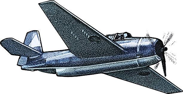 us navy fighter plane - world war ii stock illustrations, clip art, cartoons, & icons