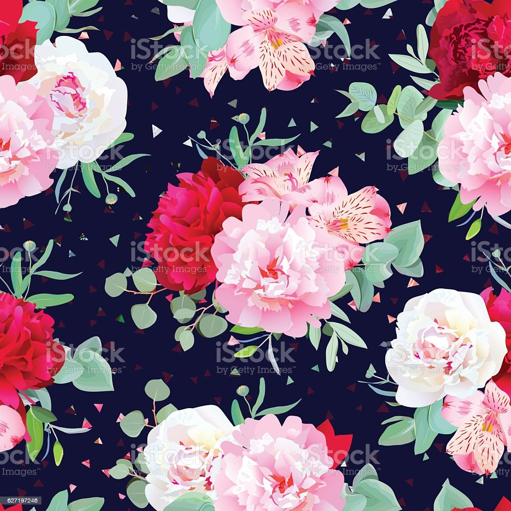 Navy floral seamless vector print with flowers vector art illustration
