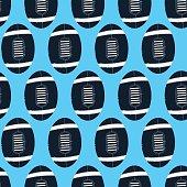 Navy football on blue background seamless pattern