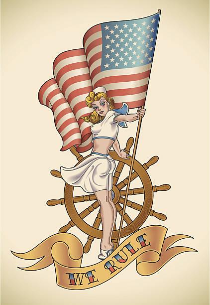 illustrations, cliparts, dessins animés et icônes de us navy fille - tatouages marins