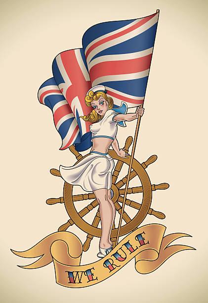 illustrations, cliparts, dessins animés et icônes de fille bleu marine - tatouages marins