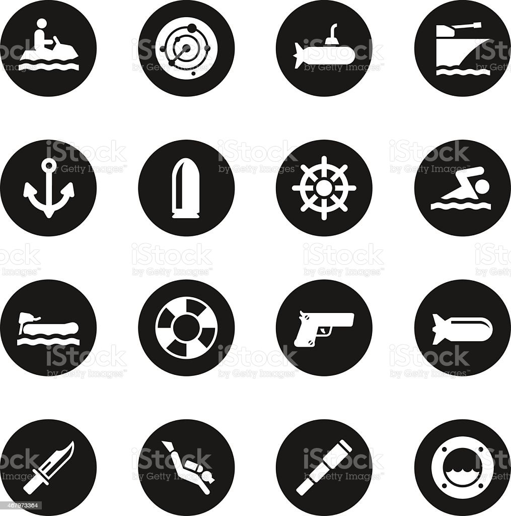 Navy Icons - Black Circle Series vector art illustration