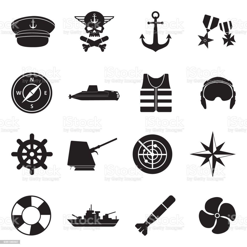 Navy Icons. Black Flat Design. Vector Illustration. vector art illustration