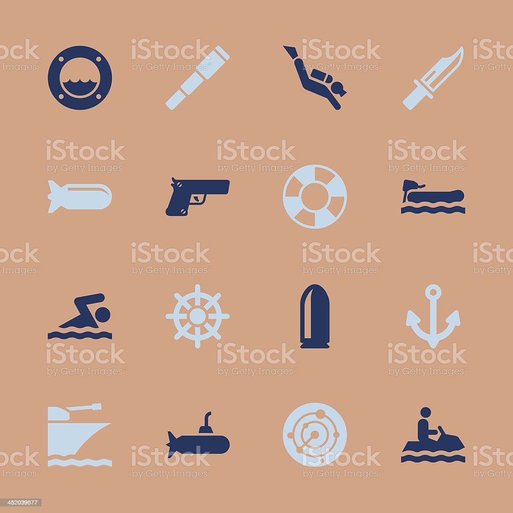 Navy Icons - Color Series | EPS10 royalty-free stock vector art