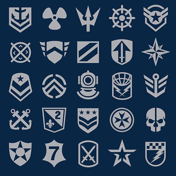 illustrazioni stock, clip art, cartoni animati e icone di tendenza di simbolo set di icone blu navy militare - immerse in the stars
