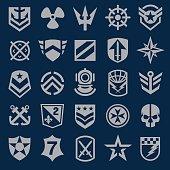 Navy military symbol icons set