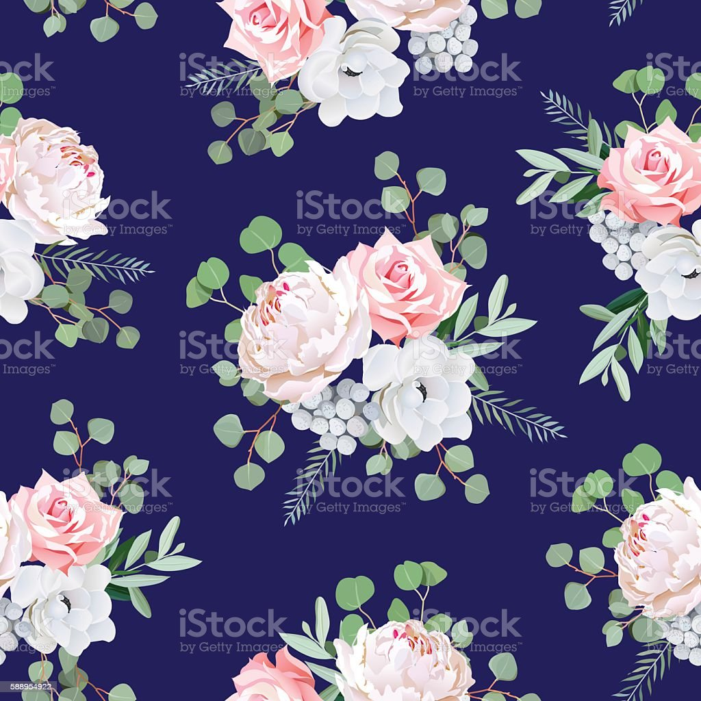 Navy pattern with bouquets of rose, peony, anemone, brunia vector art illustration