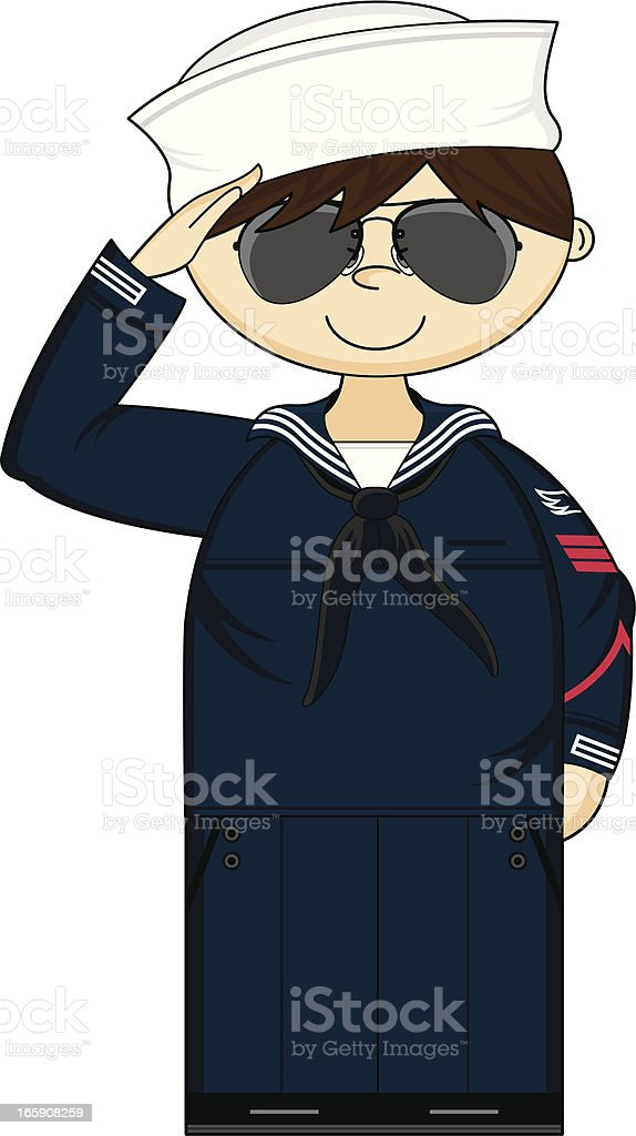 Navy Petty Officer in Sunglasses royalty-free stock vector art