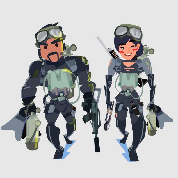 illustrazioni stock, clip art, cartoni animati e icone di tendenza di navy seal team couple - vector illustration - frogman