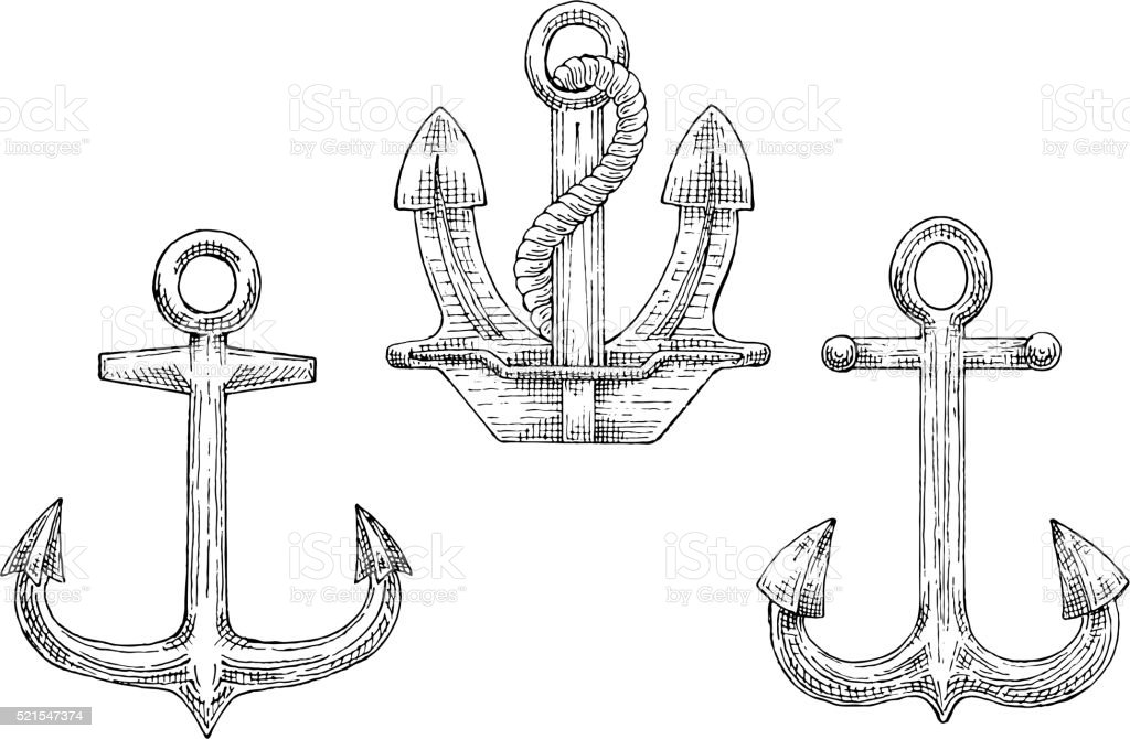 Navy ship anchors with rope sketch icons vector art illustration