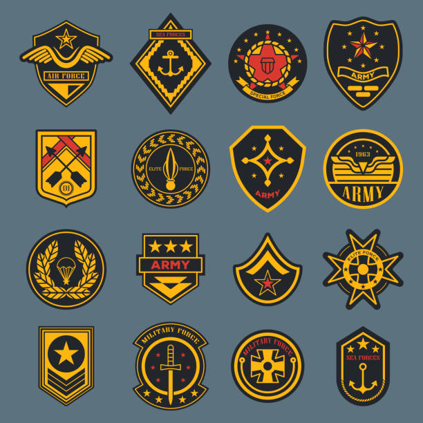 Navy sign and army badge, american air force tag Set of isolated army badges or american military labels, soldier sign. Navy rank or air force tag. Crest with parachute and wings, star and anchor, sword. Elite force sticker. Clothing and war theme air force stock illustrations