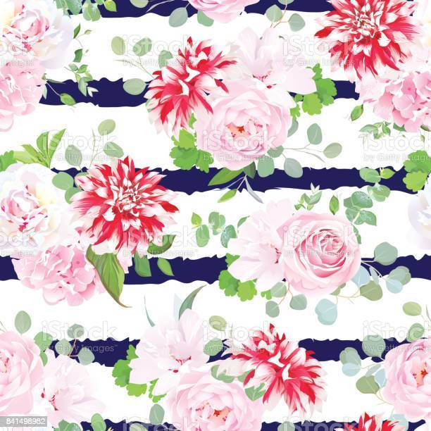 Navy striped print with bouquets of pink rose white peony vector id841498982?b=1&k=6&m=841498982&s=612x612&h=ivij4pbppzfokyvbz95nhn5s2asg6k0el2mggsjkjcq=
