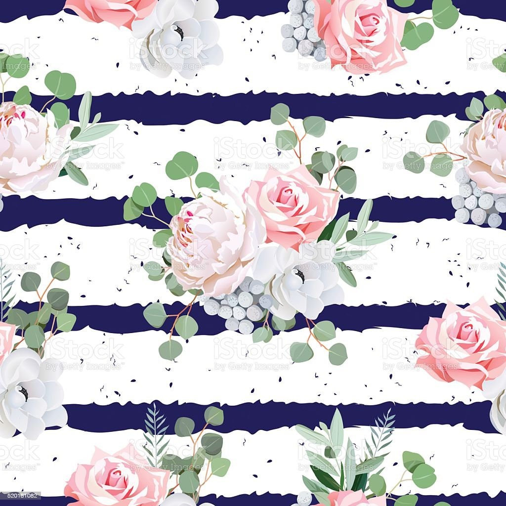 Navy striped seamless vector pattern with bouquets and speckled backdrop. vector art illustration