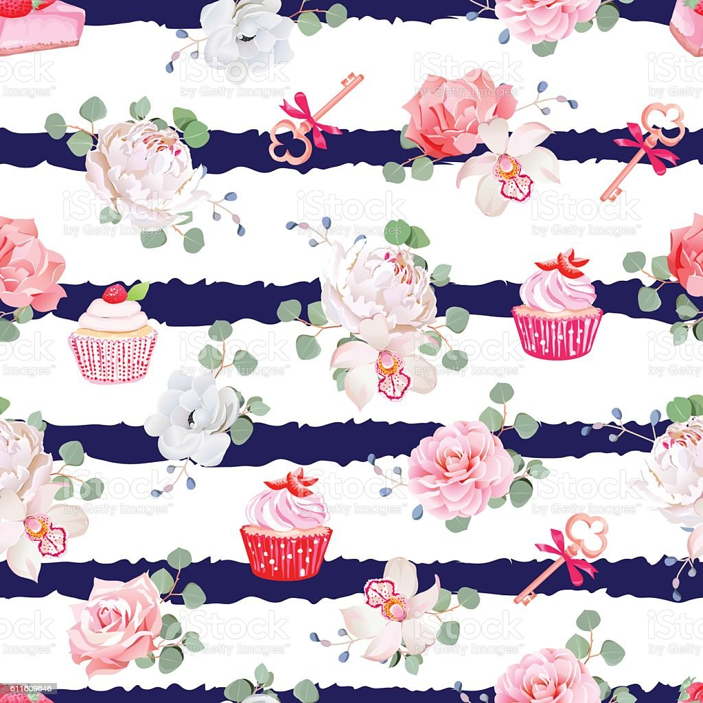 Navy striped seamless vector pattern with pastries, bouquets of flowers vector art illustration