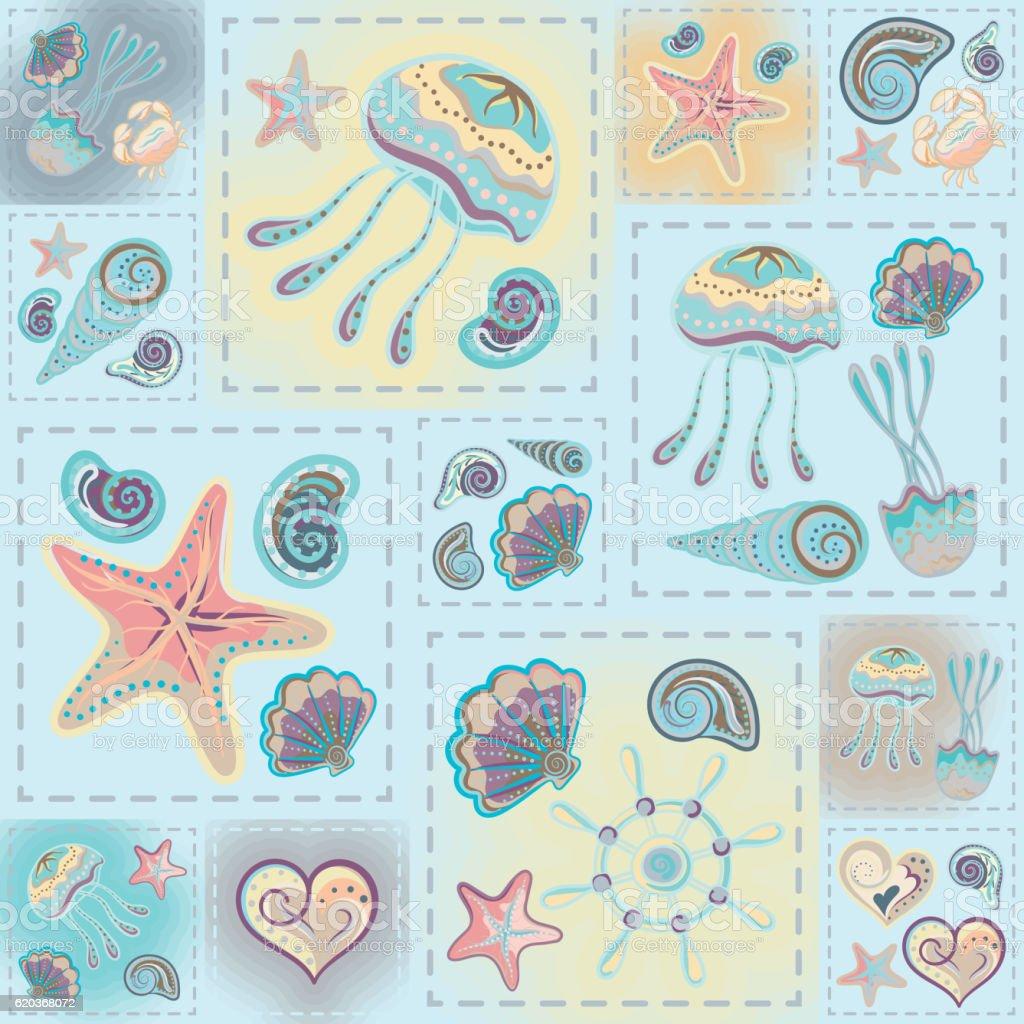 Navy vector seamless pattern. Waves, crab, wheel, anchor, star, heart. navy vector seamless pattern waves crab wheel anchor star heart - stockowe grafiki wektorowe i więcej obrazów abstrakcja royalty-free