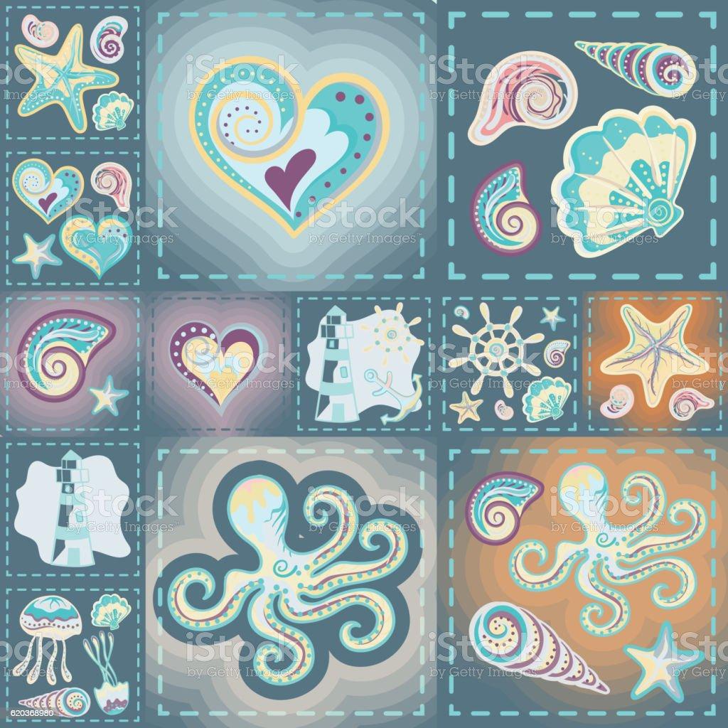 Navy vector seamless pattern. Waves, crab, wheel, anchor, star, heart. navy vector seamless pattern waves crab wheel anchor star heart - arte vetorial de stock e mais imagens de abstrato royalty-free