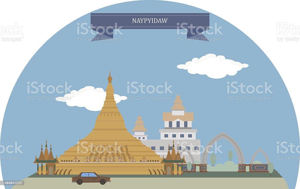 Naypyidaw, Myanmar vector art illustration