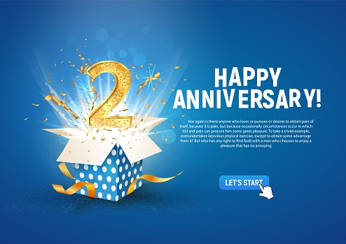 2 nd year anniversary banner with open burst gift box. Template second birthday celebration and abstract text on blue background vector illustration.