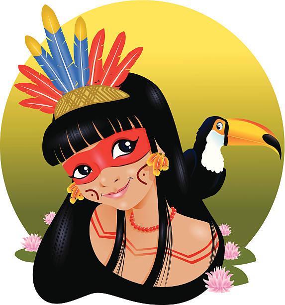 Índia do Brasil Índia brasileira com seu pássaro de estimação. amazon stock illustrations