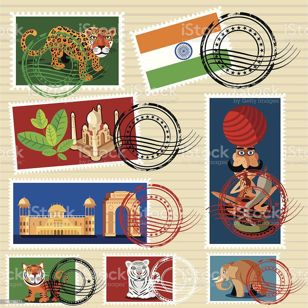 İndia stamps royalty-free stock vector art