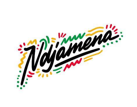Ndjamena Word Text with Handwritten Font  Shape Design Vector Illustration.