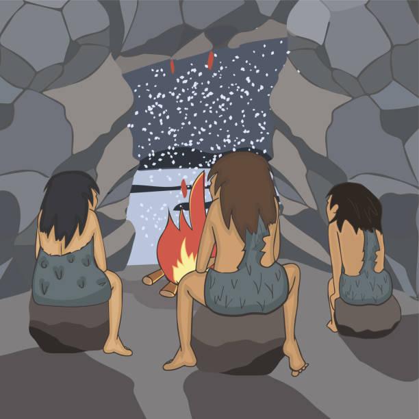 neandertaler in der höhle beobachten schneefall - eiszeit stock-grafiken, -clipart, -cartoons und -symbole