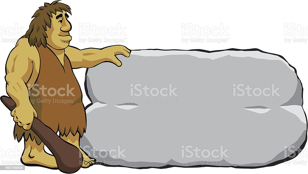 neanderthal caveman with rock ad vector art illustration