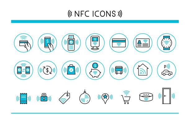stockillustraties, clipart, cartoons en iconen met in de buurt van veld mededeling iconen - mobiele betaling