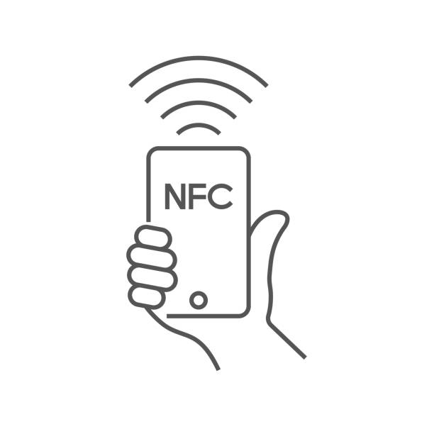 Near field communication, mobile phone with NFC module in hand, payment using smartphone, NFC vector line icon for apps and websites. Editable Stroke. EPS 10 vector art illustration
