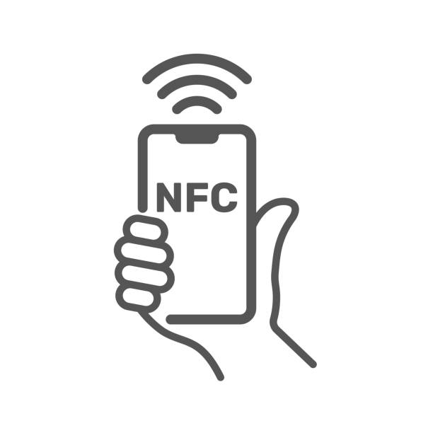 Near field communication, NFC mobile phone, NFC payment with mobile phone smartphone flat vector icon for apps and websites vector art illustration