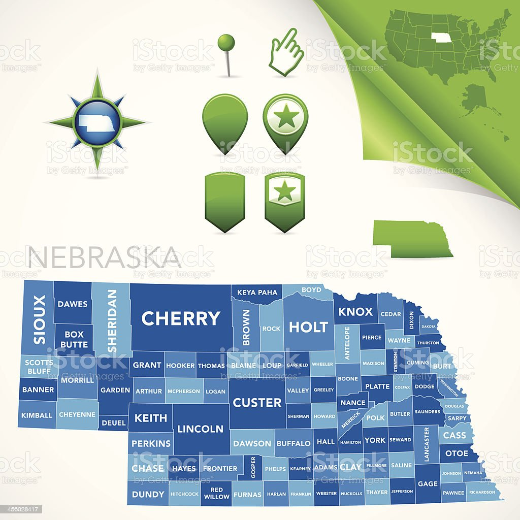 Nebraska County Map vector art illustration