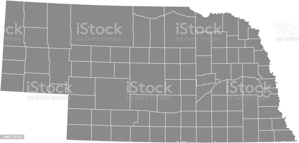 Nebraska County Map Vector Outline Gray Background Map Of Nebraska