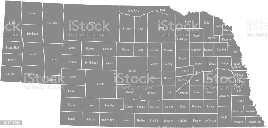 Nebraska county map vector outline gray background. Map of Nebraska state of USA with borders and counties names labeled royalty-free nebraska county map vector outline gray background map of nebraska state of usa with borders and counties names labeled stock vector art & more images of alliance - nebraska
