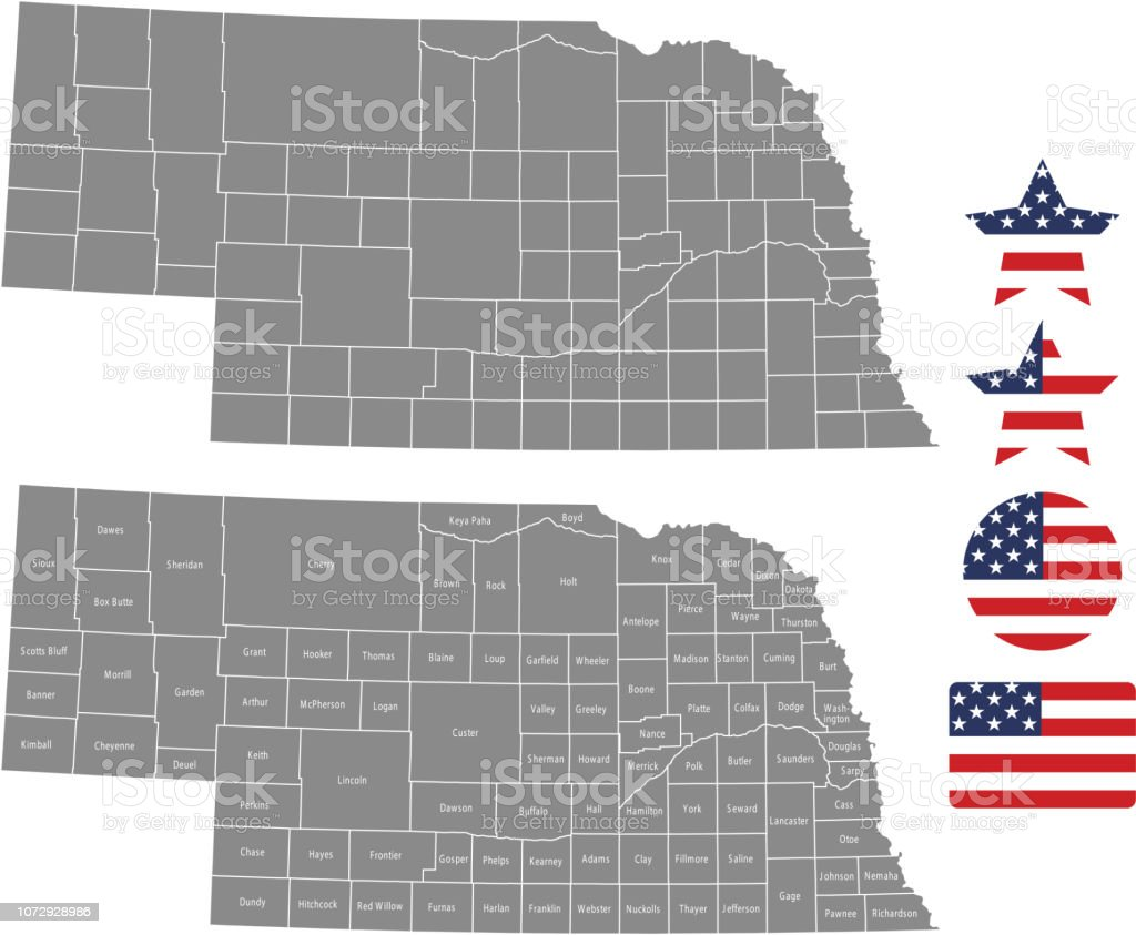 Nebraska County Map Vector Outline In Gray Background Nebraska State - Us-map-nebraska-state
