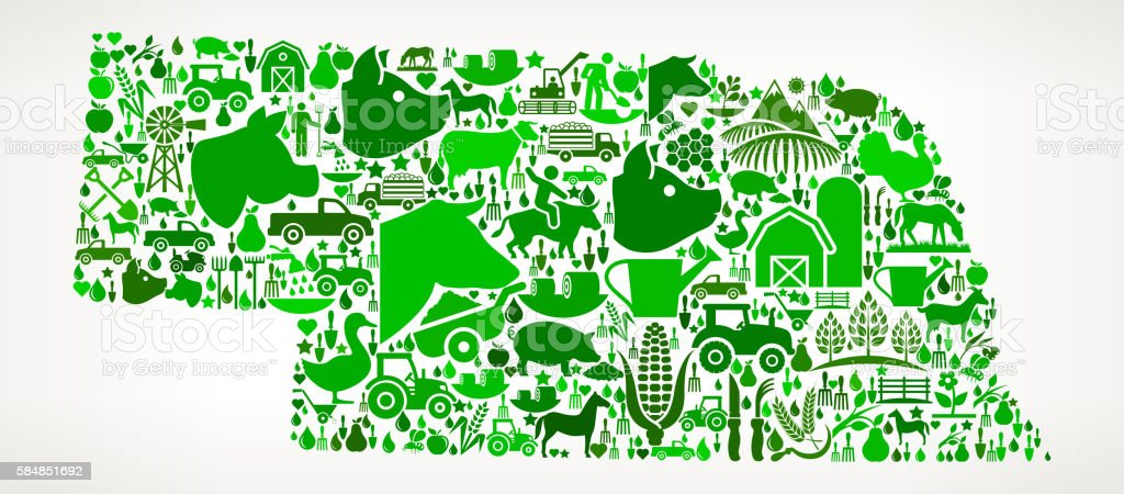 Nebraska Farming and Agriculture Green Icon Pattern vector art illustration