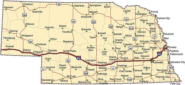 Nebraska Highway Map (vector) vector art illustration