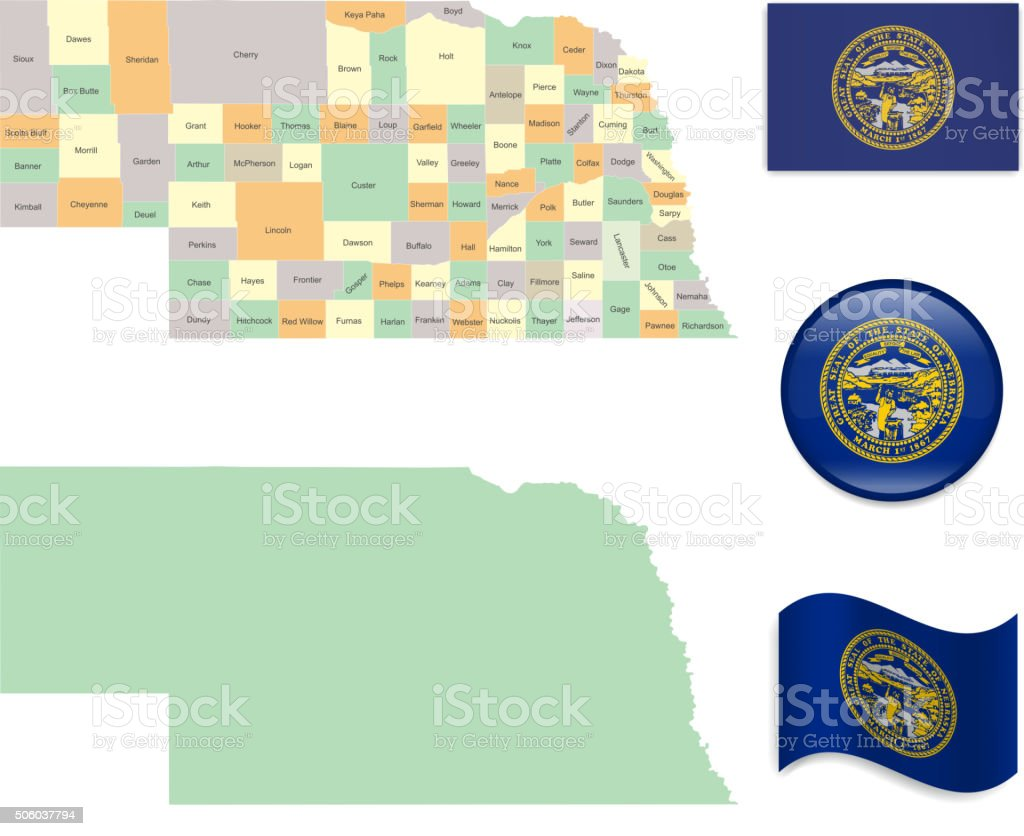 Nebraska Map and Flag Collection vector art illustration