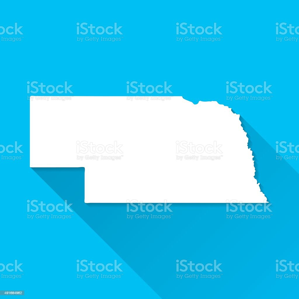 Nebraska Map on Blue Background, Long Shadow, Flat Design vector art illustration