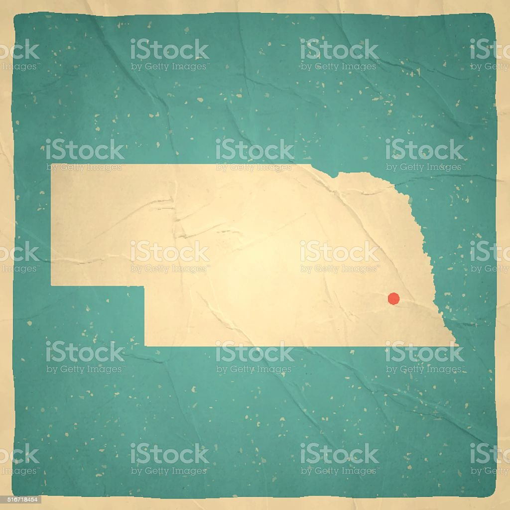 Nebraska Map on old paper - vintage texture vector art illustration
