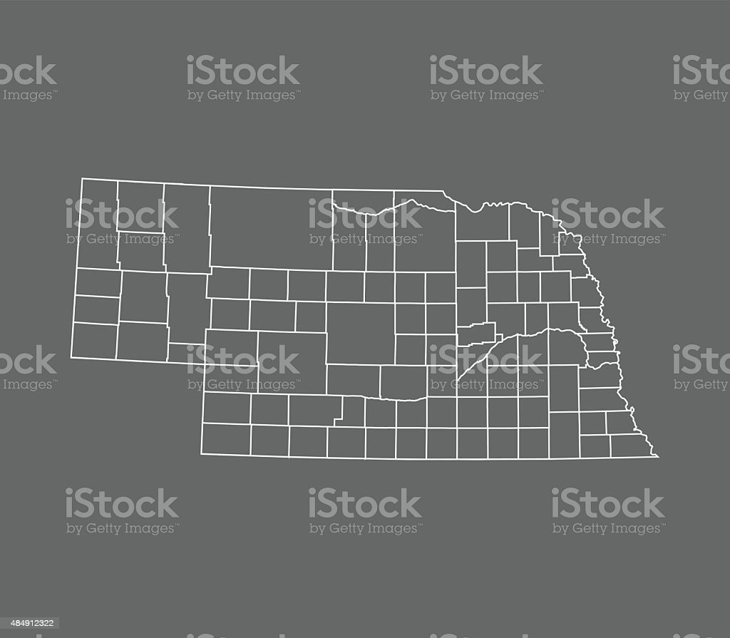 Nebraska Map vector art illustration