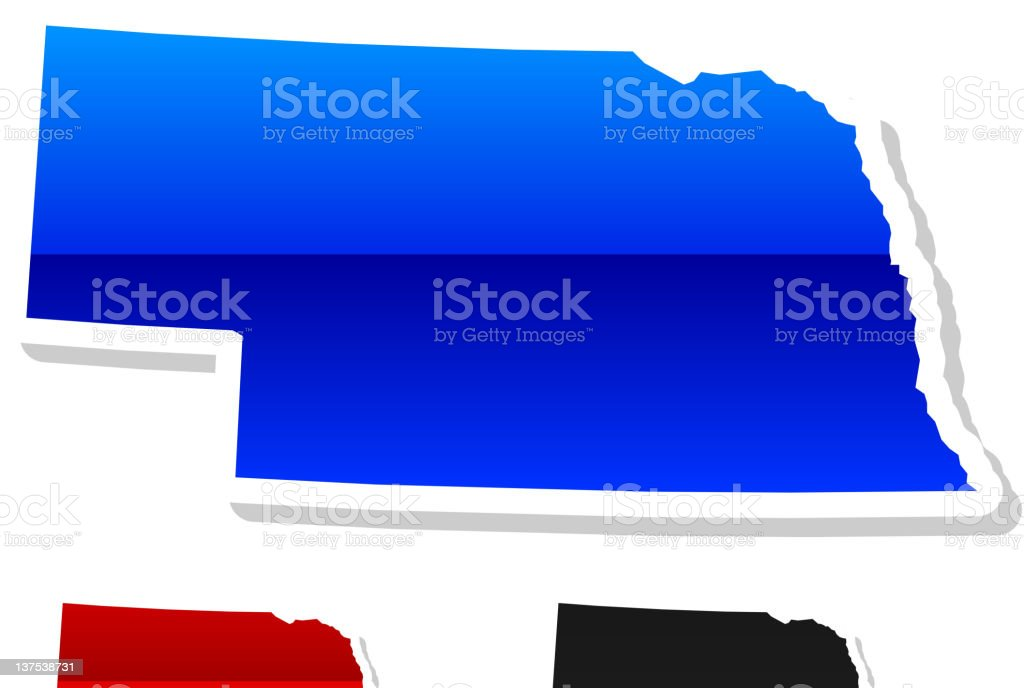 Nebraska State in 3 colors royalty-free stock vector art