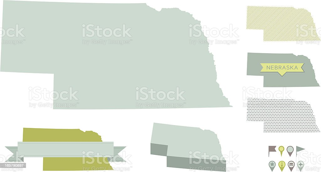 Nebraska State Maps vector art illustration
