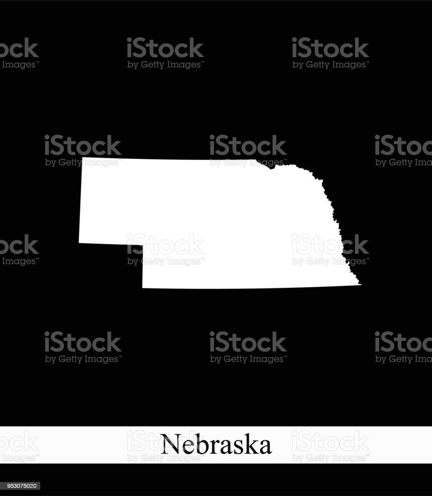 Nebraska State Of Usa Map Vector Outline Illustration Black And - Us-map-nebraska-state